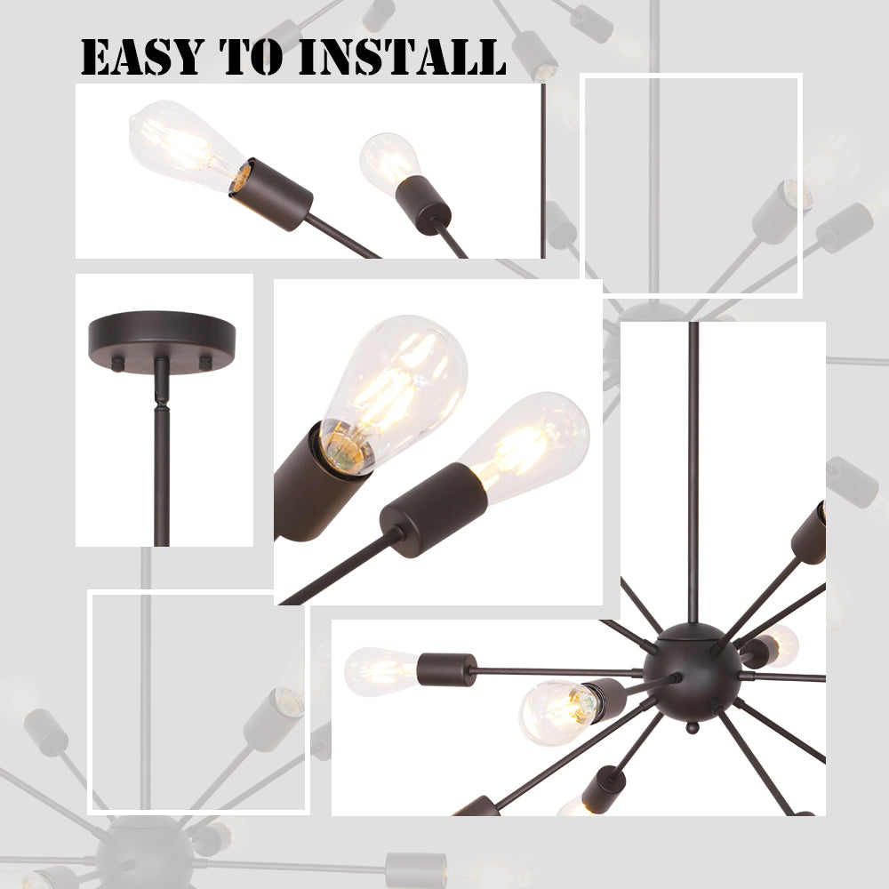 VINLUZ Modern Sputnik Chandelier Lighting VINLUZ 12 Light Oil-Rubbed Bronze