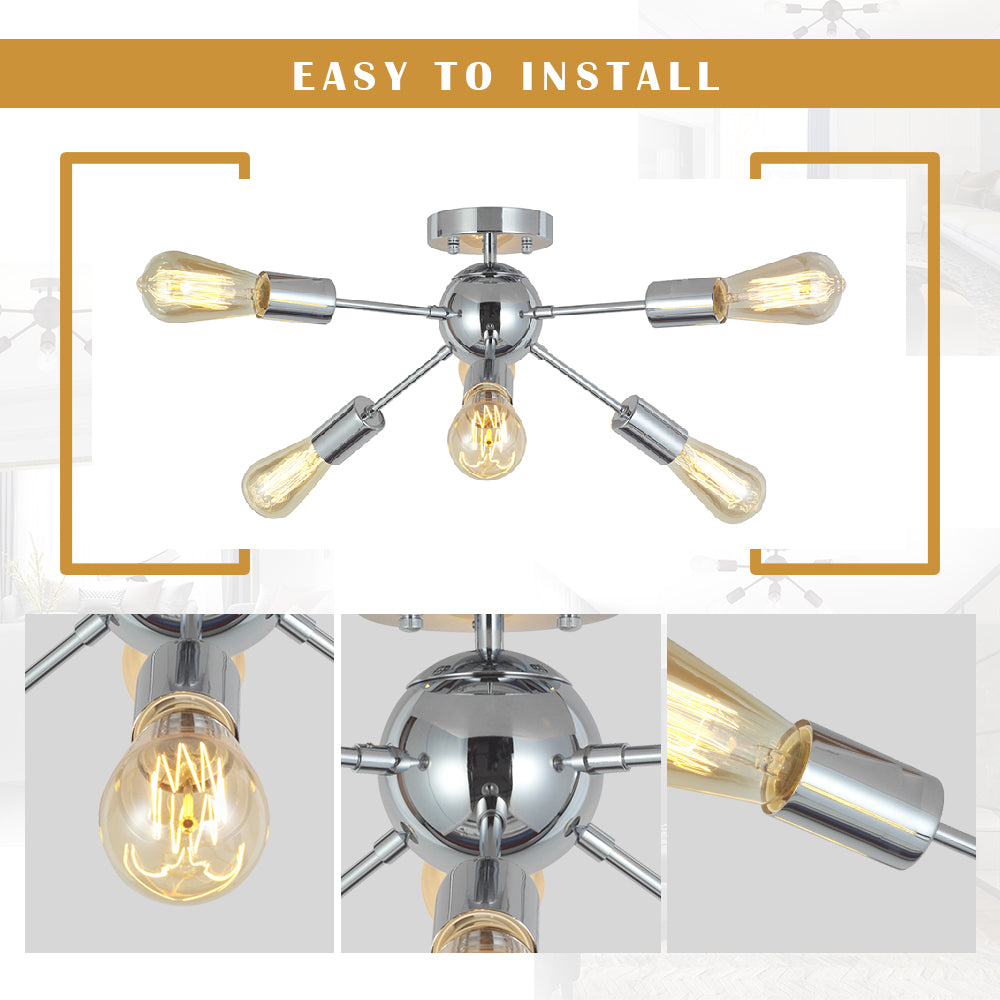 VINLUZ Sputnik Chandelier Lighting 6 Lights Chrome Modern Ceiling Light