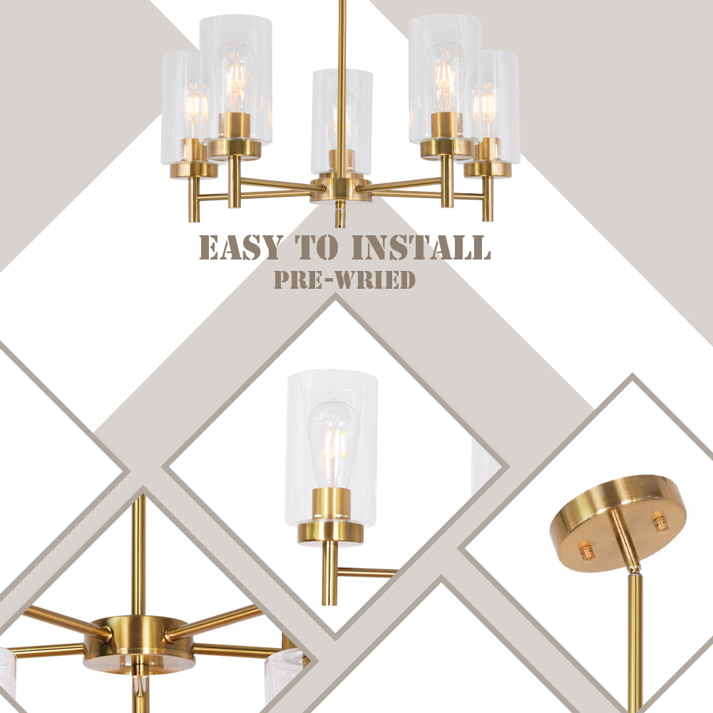 VINLUZ Contemporary 5-Light Large Chandelier Modern Clear Glass Shades Brushed Brass