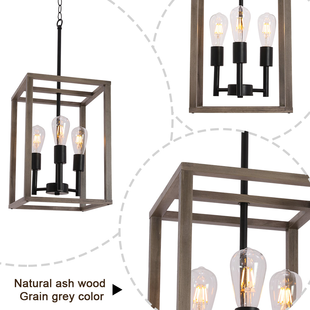 VINLUZ 3 Light Farmhouse Chandelier Pendant Lamp Black Wood Frame Accents Hanging Flush Mount Ceiling Light Simply Decoration for Dining Room Foyer Kitchen Bar