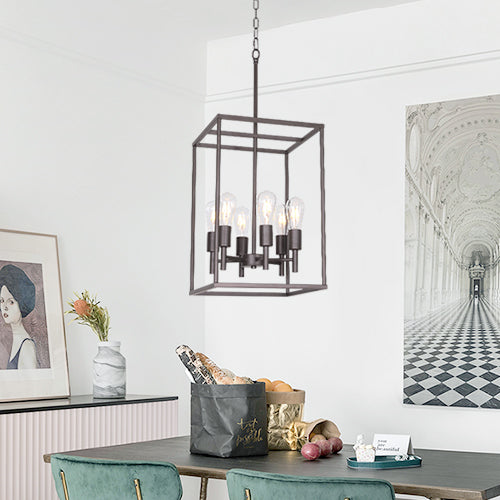 VINLUZ 6 Light Farmhouse Square cage Pendant Lighting Oil-Rubbed Bronze