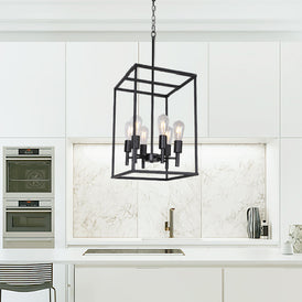 VINLUZ Traditional Farmhouse Foyer Pendant Lighting 6 Light Black
