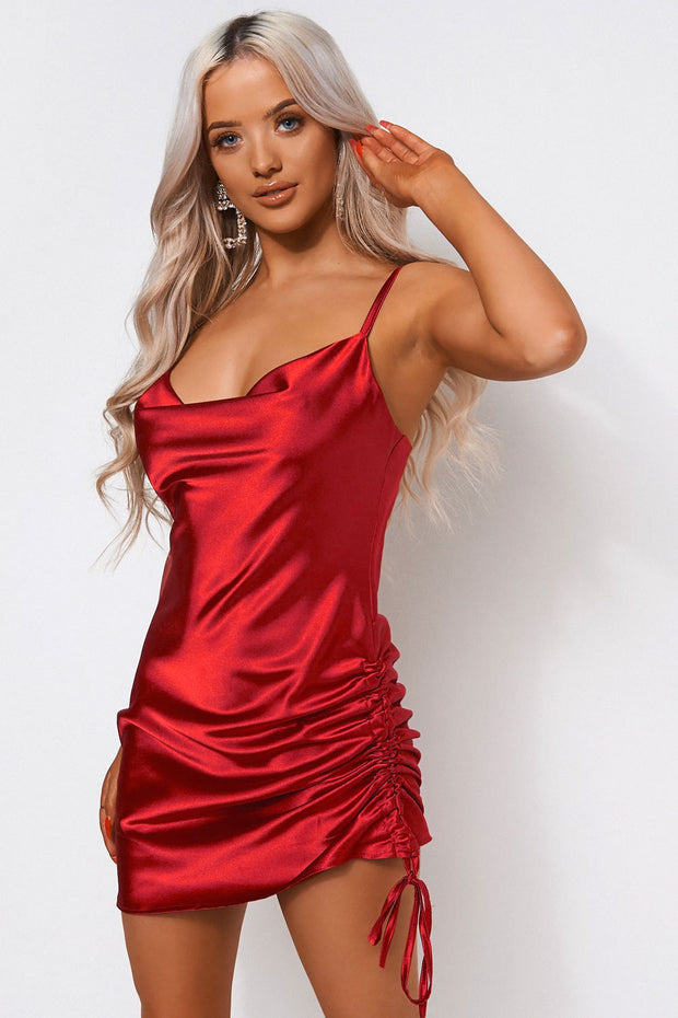 Red Satin Ruched Slip Dress