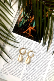 Bamboo Gold Hoop Shell Earrings