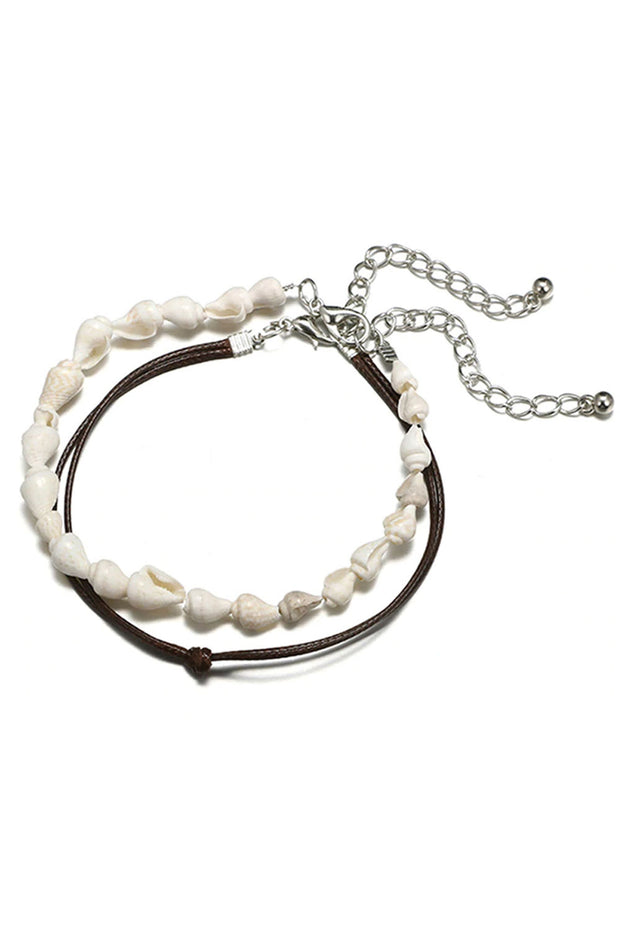 White Shell Anklet Bracelet Set