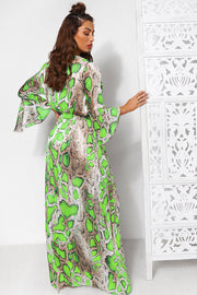 Neon Green Snakeskin Maxi Dress