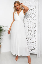 Naomi White Pleated Maxi Dress