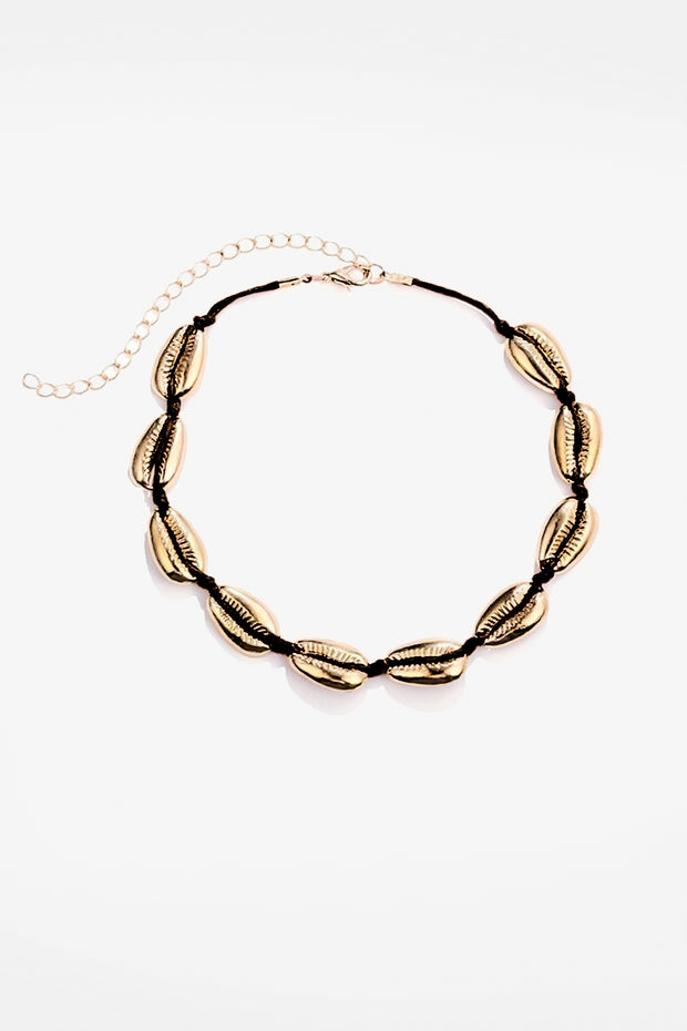 Gold Sea Shell Black Choker Necklace