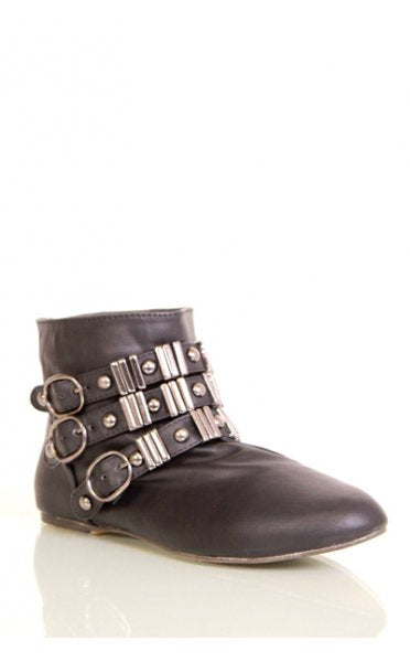 Mimi Buckle Ankle Boots In Black