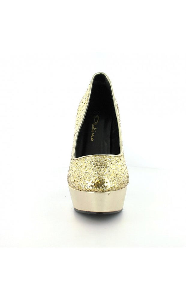 Platino Glitter Court Platform Shoes In Gold