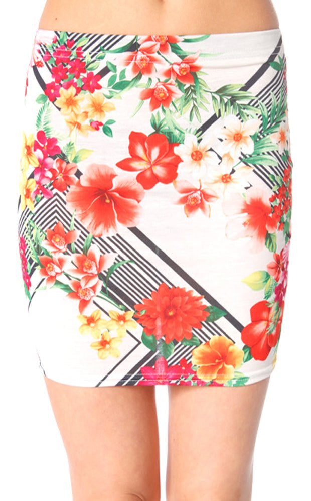 Davina Floral Bodycon Mini Skirt In White