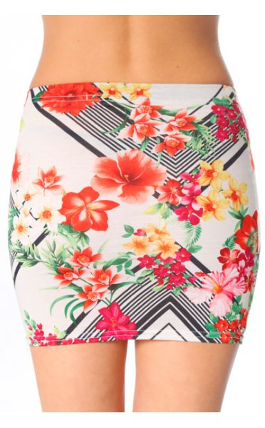 Davina White Floral Bodycon Mini Skirt