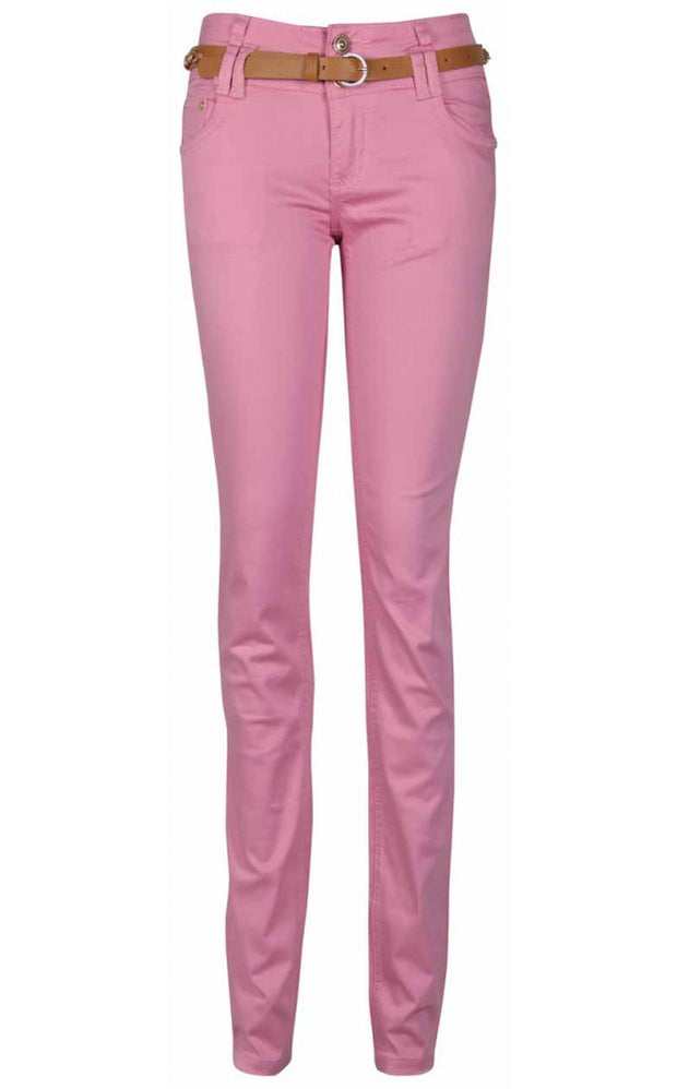 Ella Low Rise Skinny Jeans In Bubblegum Pink