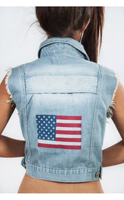 Limited Edition Light Wash USA Back Denim Jacket