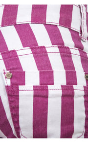 High Waisted Pink Candy Striped Skinny Jeans