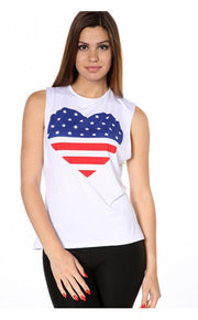 Yasmin USA Stars & Stripes Heart Print Vest Top