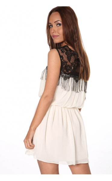 Katelin Cream Chiffon Fringe Dress