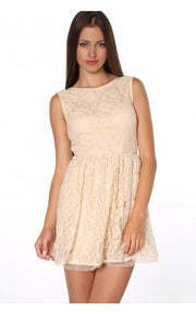 Leila Low Back Lace Skater Dress In Cream