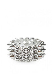 Celia Three Row Spike Rivet Bracelet In Silver