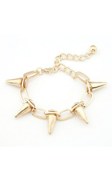 Retro Punk Rock Rivet Spike Studs Bracelet In Gold
