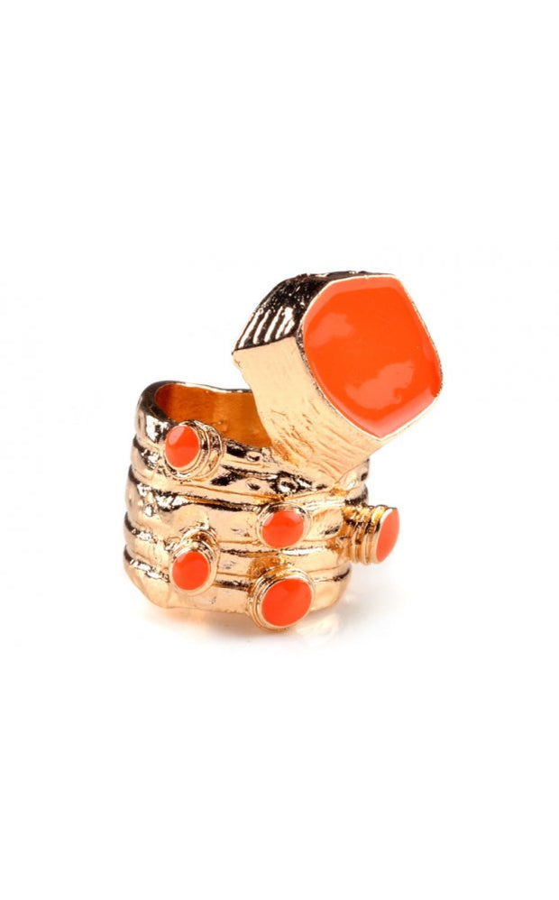 Retro Vintage Style Ring In Orange