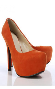 Chloe Concealed Platform Shoes In Orange