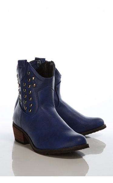 Vintage Style Blue Studded Cowboy Boots