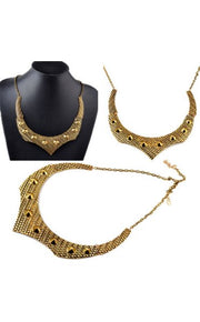 Lola Luxury Tribal Studded Statement Choker In Gold
