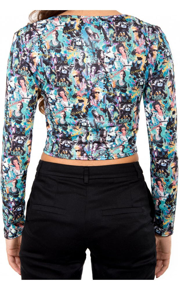 Glamour Print Photo Cropped Top In Blue