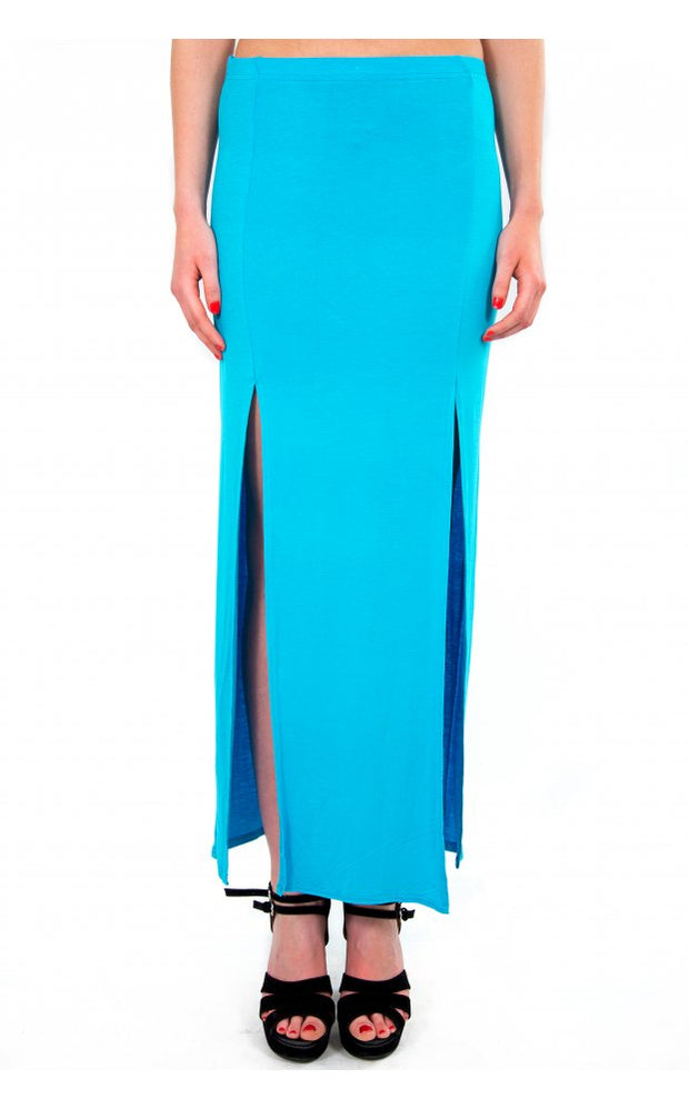 Double Split Maxi Skirt In Blue