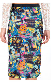 Graphic Print Bodycon Midi Skirt