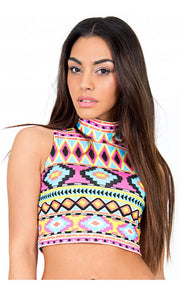 Hot Spell Aztec High Neck Crop Top