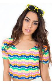 Brighter Days Zig Zag Neon Crop Top