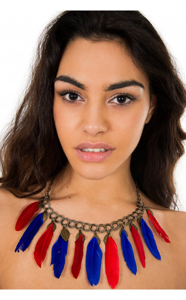 Ibiza Feather Necklace Choker In Blue