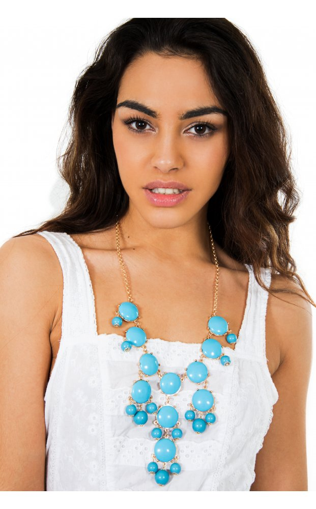 Summer Fruits Overload Bib Style Necklace In Blue