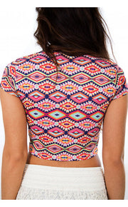 Mia Aztec Print Crop Top In Multi