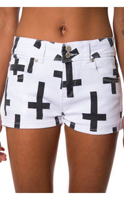 Cross Print Denim Shorts In White