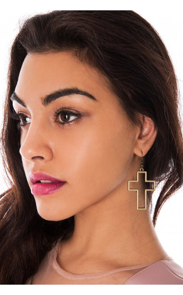Cross Out Earrings In Bronze