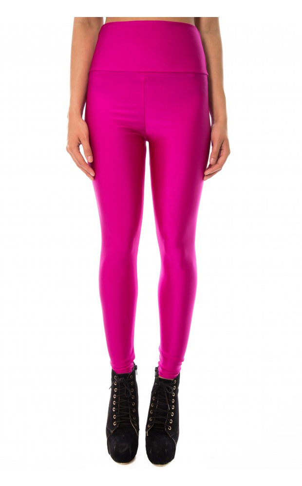 High Waisted Disco Leggings In Purple