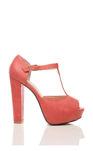 T Bar Platform Heels In Red