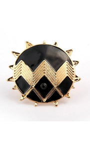 Oversized Zig Zag Sun Ring in Gold & Black