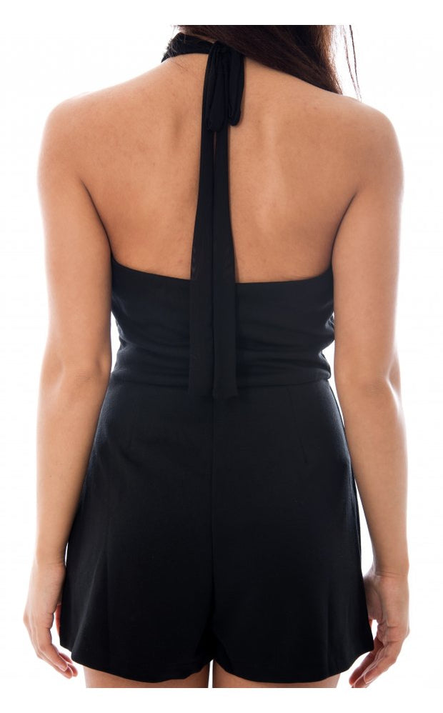 Diamante Backless Mesh Front Playsuit In Black