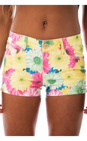 Pale Blooms Flower Print Shorts