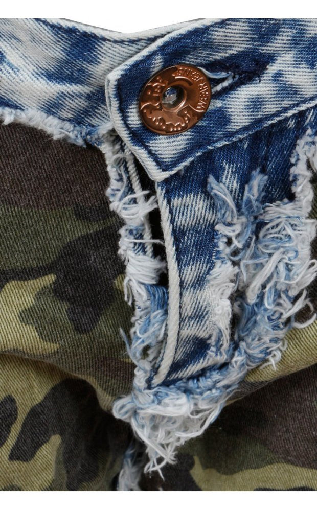 Camouflaged Denim Shorts