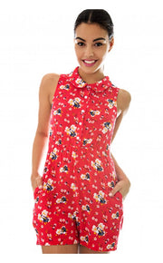 Letitia Red Floral Playsuit
