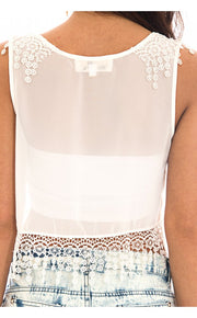 Chiffon Lace Trim Crop Top In White