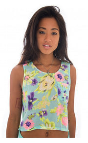 Eskarina Floral Cut Out Sheer Crop Top