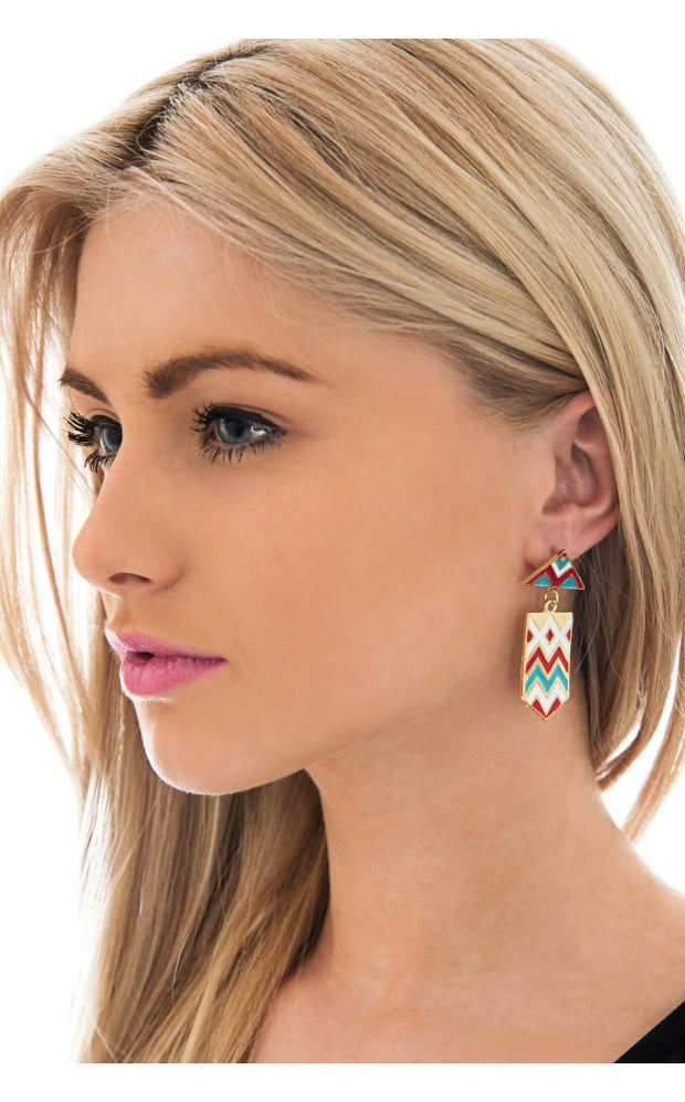 Darcy Aztec Earrings In Blue