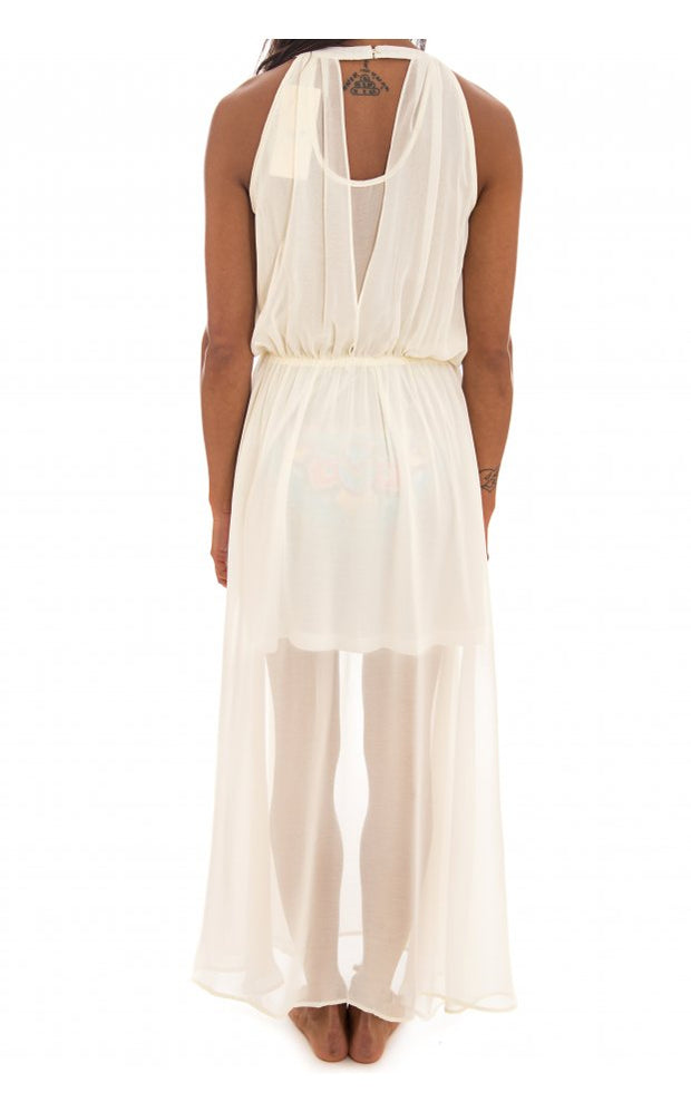 Premium Cream Tie Neck Sleeveless Maxi Dress