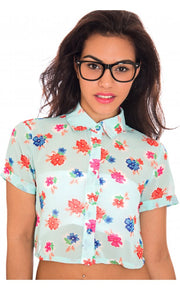 Jordinna Floral Chiffon Blouse In Blue